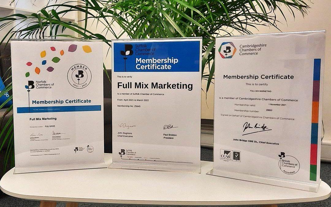 Full Mix Marketing Renew Membership of Norfolk, Suffolk & Cambridgeshire Chambers of Commerce